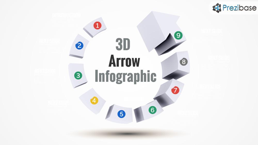 3D progress arrow infographic prezi presentation template