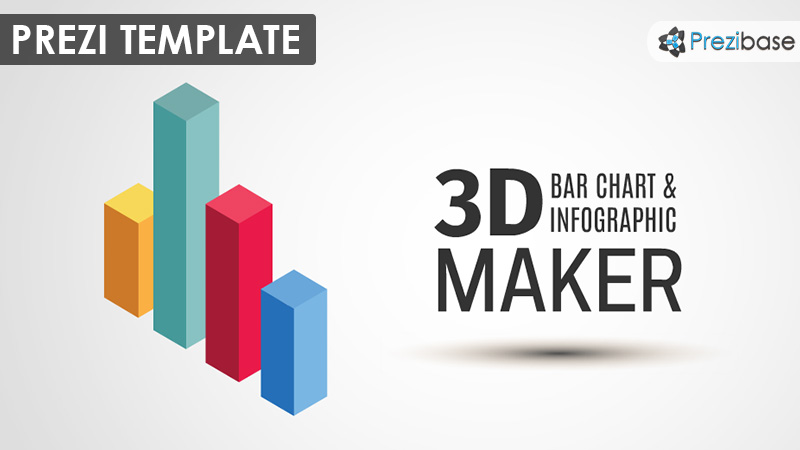 3D Bar Chart Graph Infographic Prezi Template  Graphs And Charts Templates
