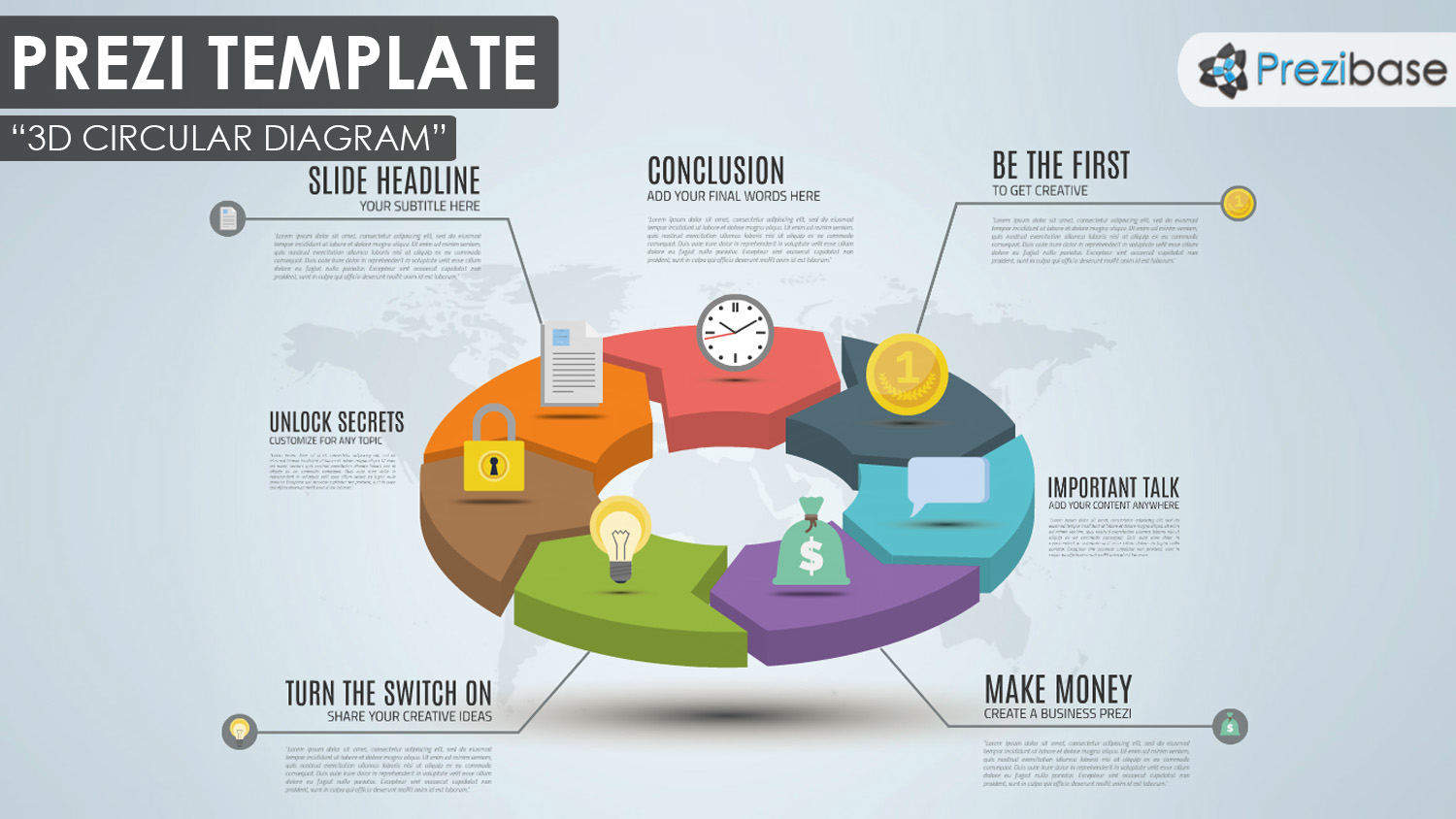3d circular pie chart diagram prezi template