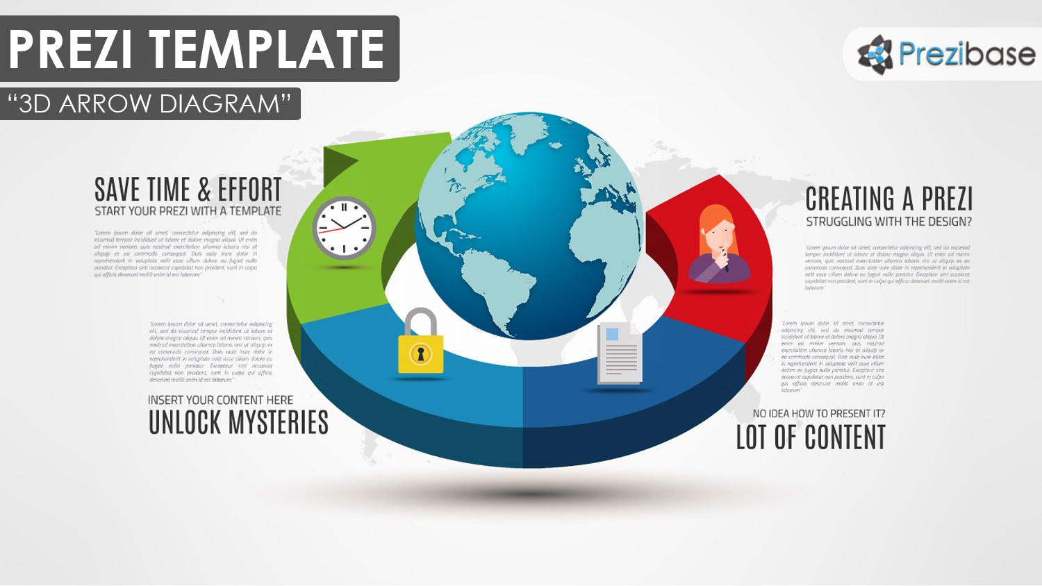 colorful 3D arrow prezi template with a 3D earth good for business presentation