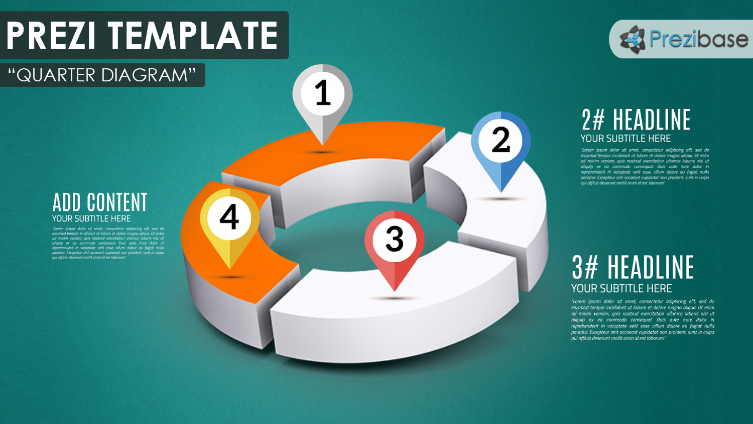 3d quarter chart circle diagram prezi template