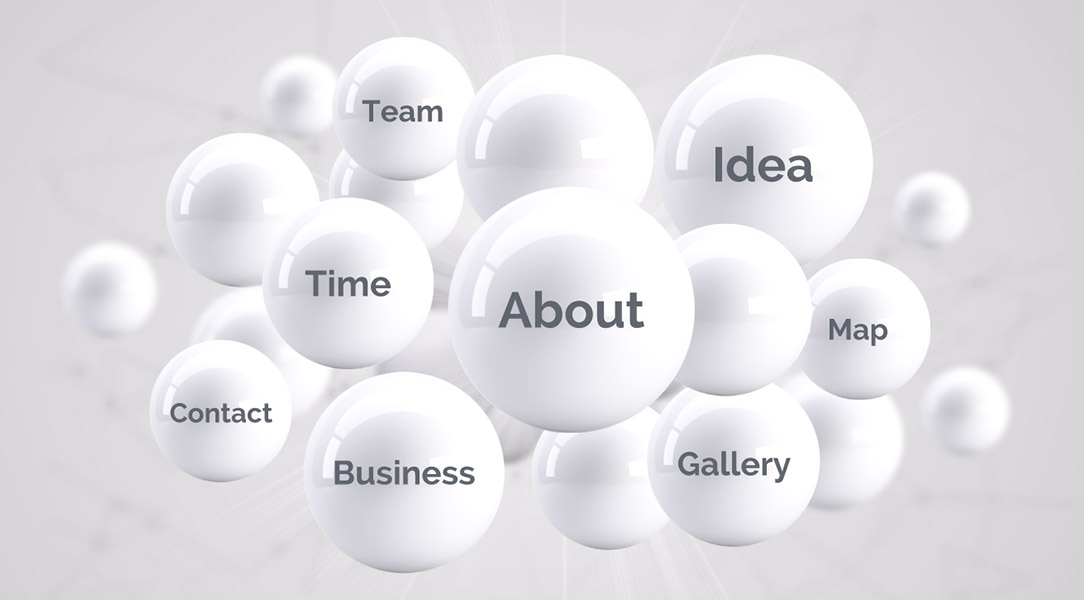 Creative 3D spheres presentation template for prezi