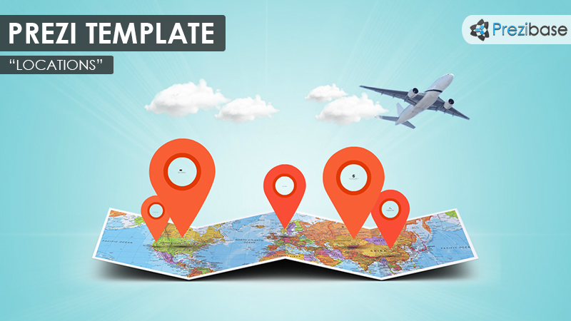 3d folded map travel business fly prezi template