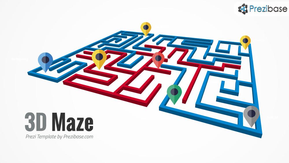 3D maze labyrinth business route path prezi presentation template