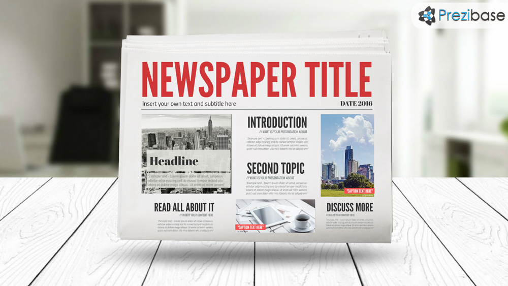 3D newspaper prezi presentation template