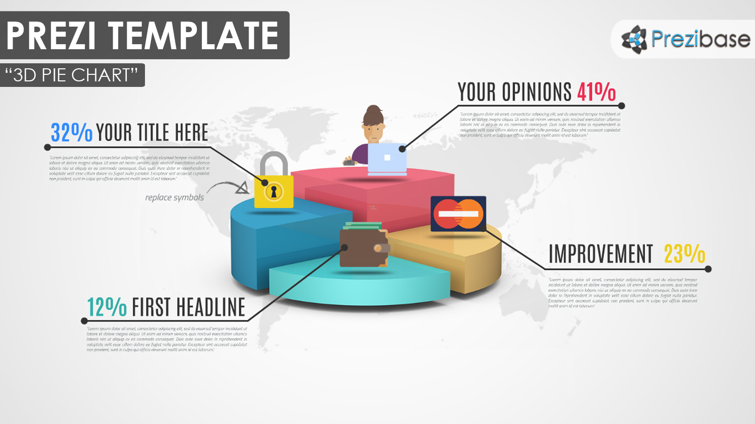 3D pie chart graph infographic prezi template