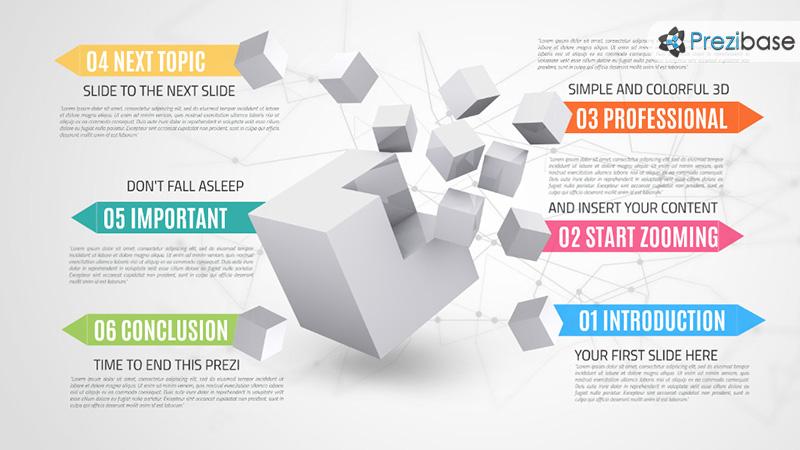 Infographic 3D cubes squares business professional prezi template