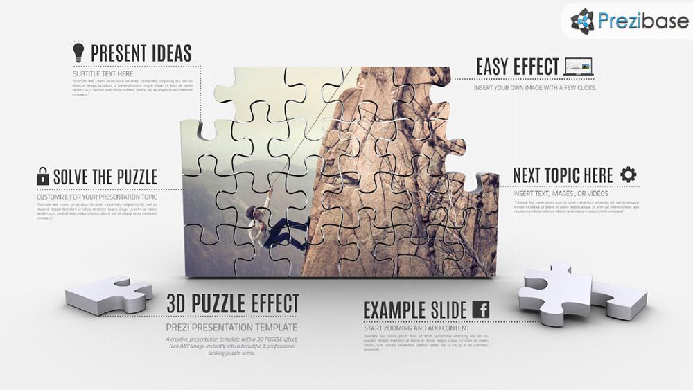 3D jigsaw puzzle presentation prezi template ffect