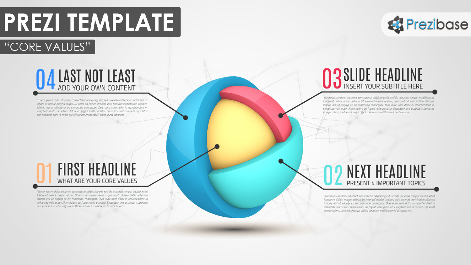 3D core topics sphere layers prezi template infographics