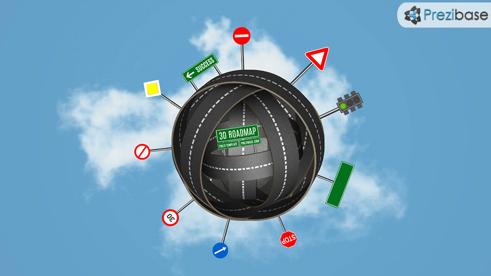 Creative 3D road tangled sphere success prezi presentation template
