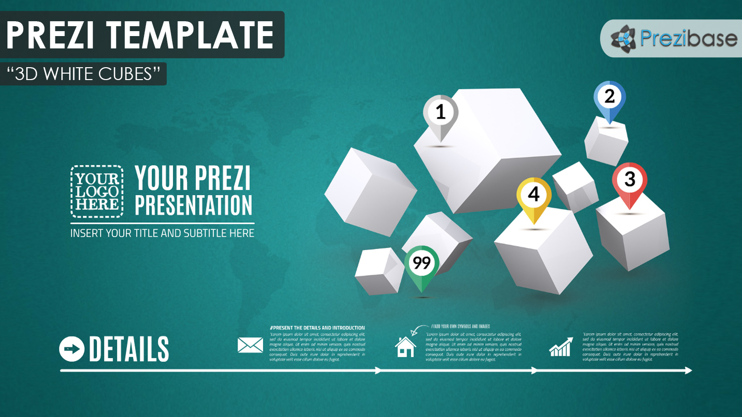 3D white cubes squares infographic business prezi template
