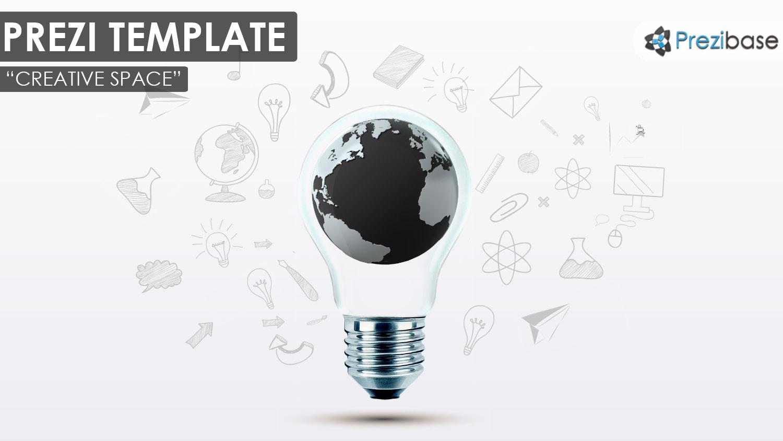 3d world map creative light bulb ideas sketch draft prezi template