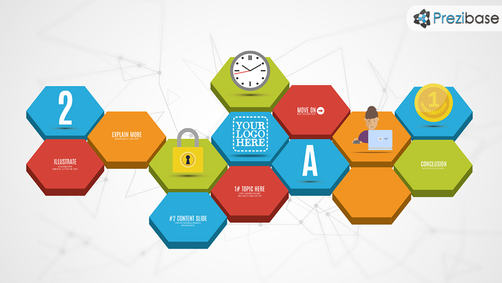 3d hexagons prezi template prezibase