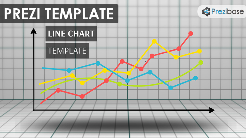 3D line chart business people silhouettes prezi template graph