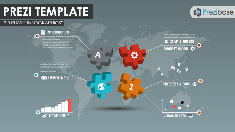 Business prezi templates prezibase 3d jigsaw pieces puzzle world map business diagram prezi template accmission Gallery