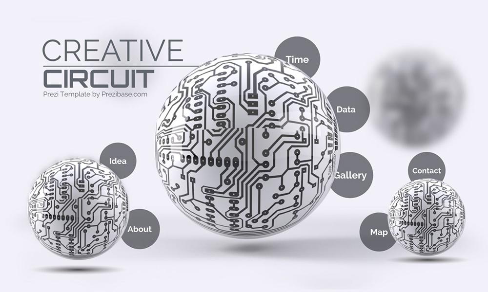 3D technology spheres circuits prezi next presentation template