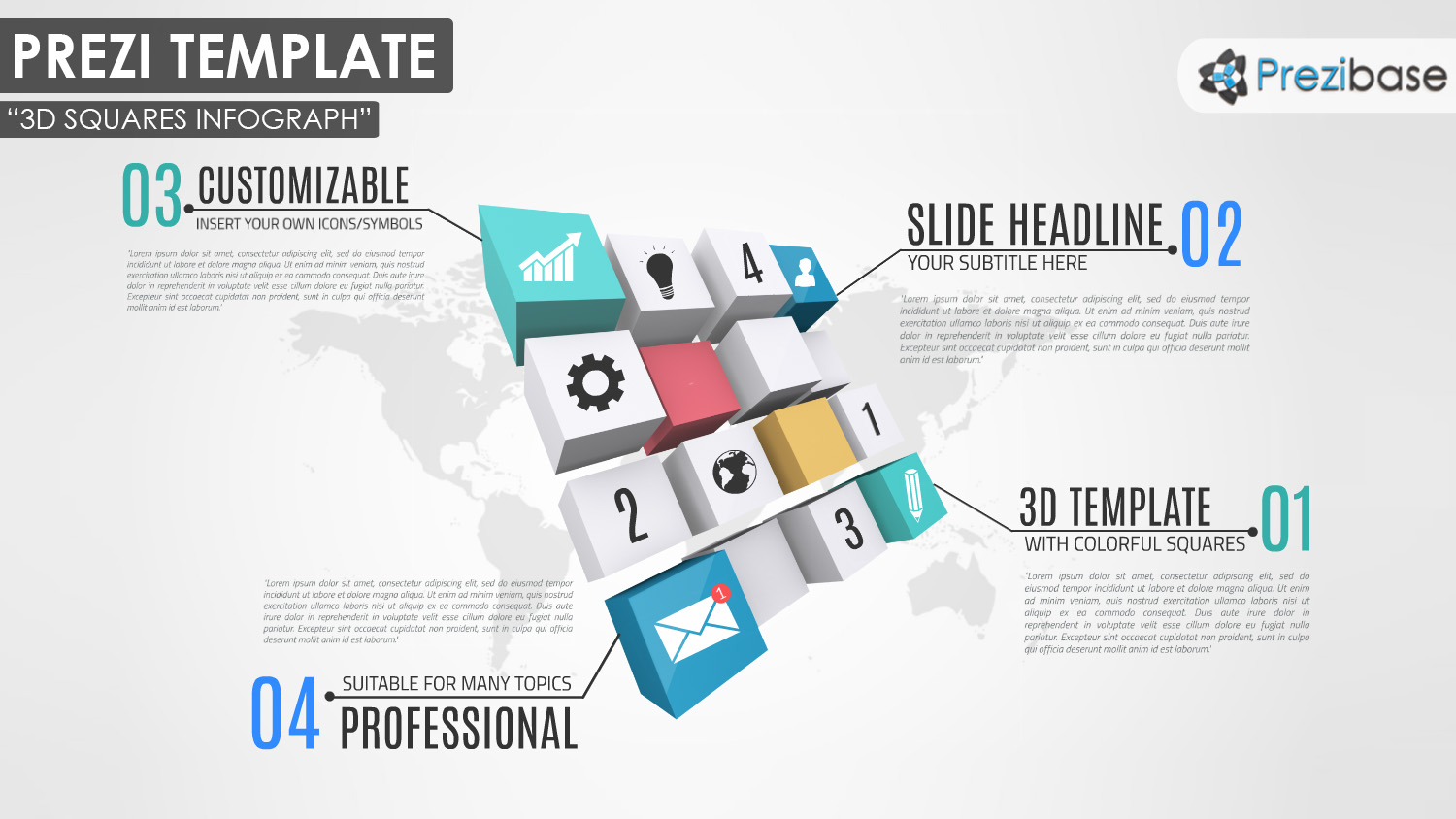 3D Squares cubes world map business prezi template