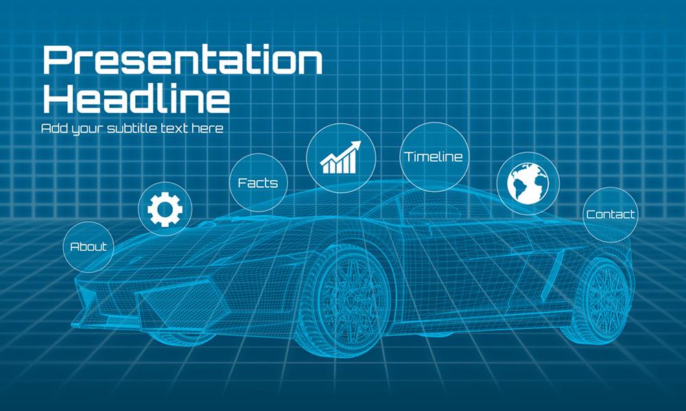 3D infographic futuristic sports EV car prezi presentation template