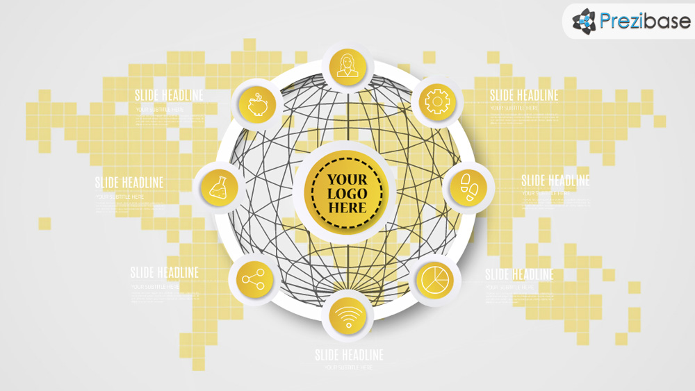 3D yellow infographic circle prezi presentation template