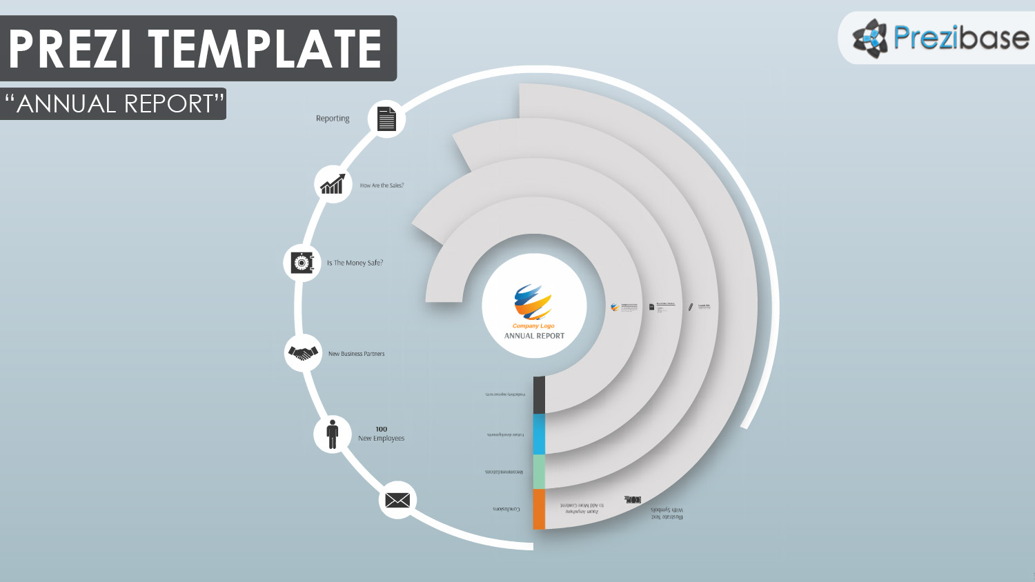 Annual Report Circle Infograph Prezi Template  Annual Reports Templates
