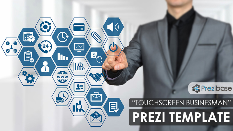 Businessman touchscreen creative technology Prezi Template for presentations