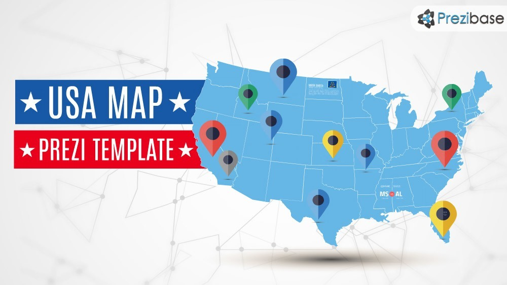 USA america states map prezi template