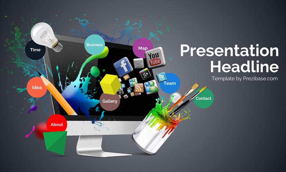 Creative web design abstract 3d monitor presentation template for prezi