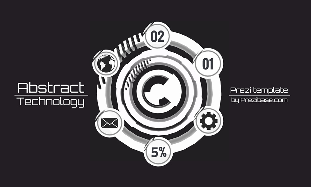 Abstract white technology circle prezi next presentation template