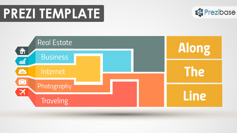Colorful shapes diagram business prezi template