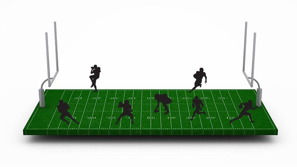 3d football pitch with players