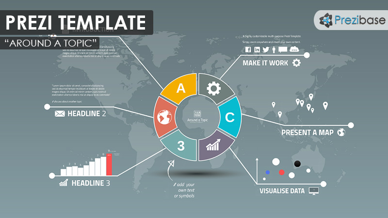 business report infographics professional prezi template mindmap