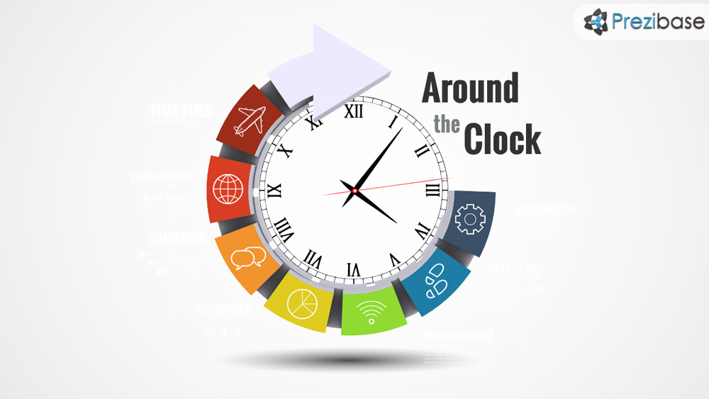 3d circle clock time and deadlines prezi template