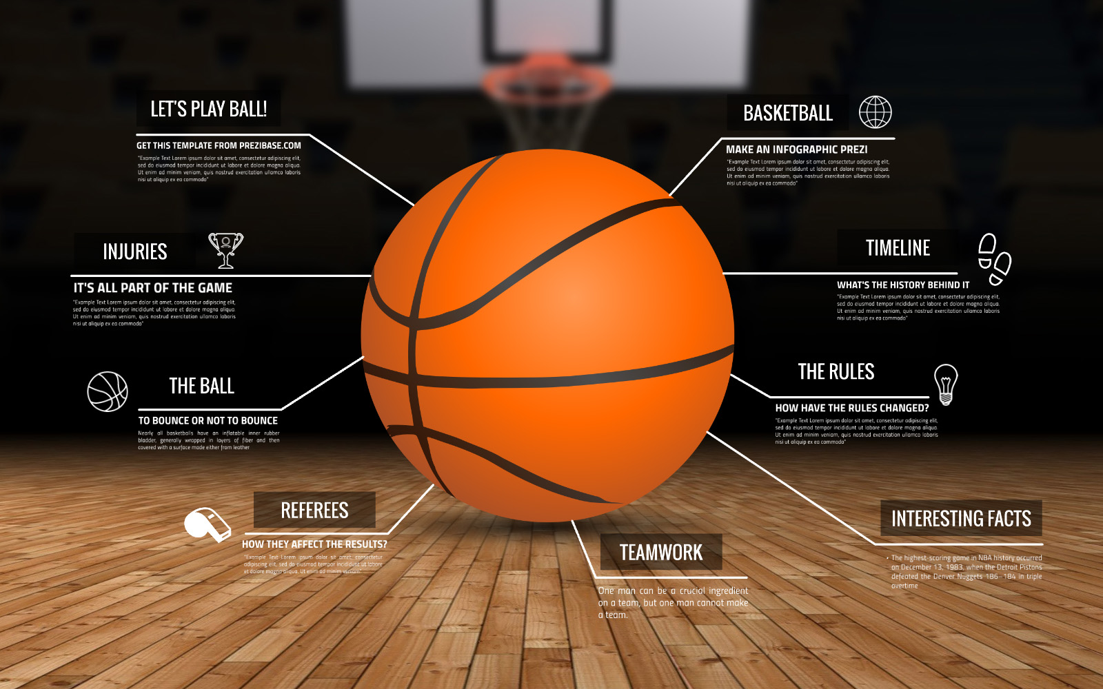 3D infographic basketball prezi template for presentations