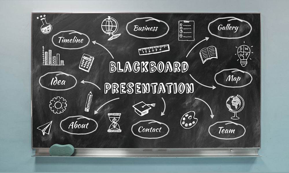 Blackboard Prezi next presentation template hand drawn icons