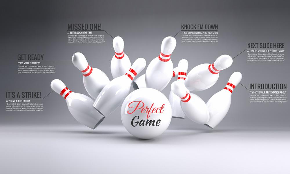 Bowling strike 3D Prezi presentation template