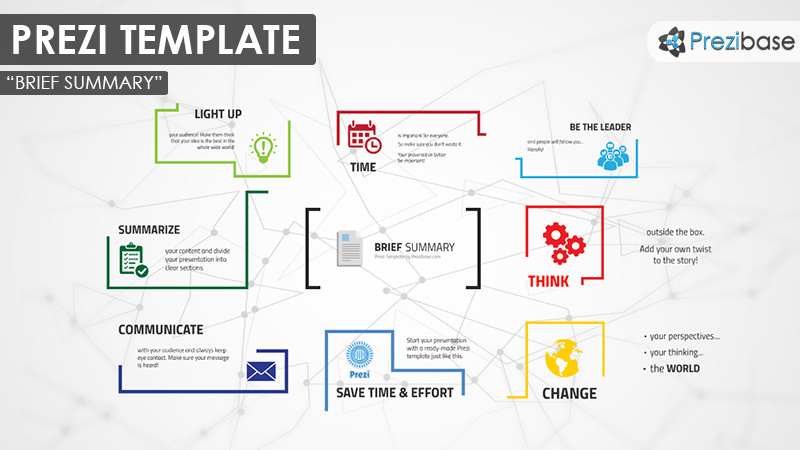 Simple chart business diagram summary colorful ideas prezi template