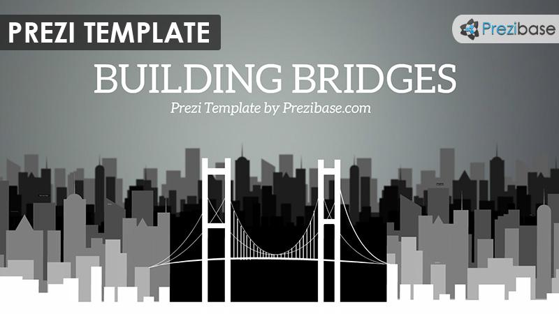 3D black and white building bridges prezi template