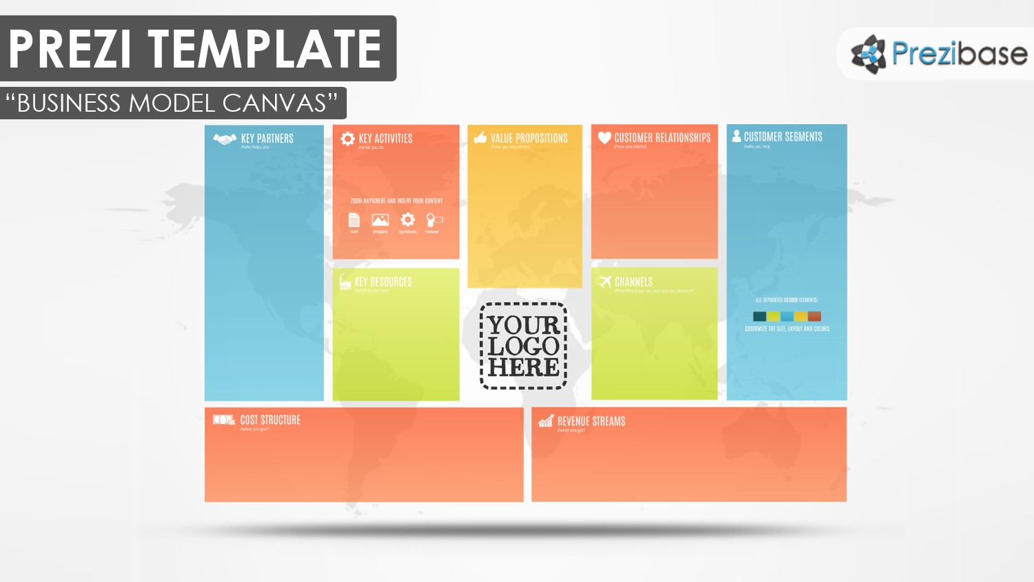 Business model canvas prezi template prezibase business model canvas colorful pitch world map prezi template accmission Gallery