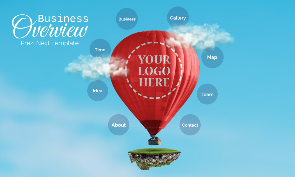 Business overview hot air balloon in sky prezi next presentation template