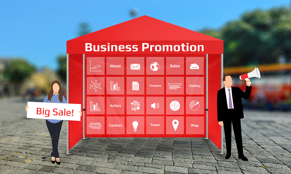 Business promotion and advertising with pop up promo tent marketing presentation prezi template