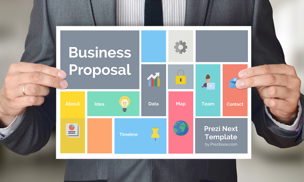 Business proposal presentation prezi template prezibase businessman holding business proposal plan presentation template for prezi wajeb