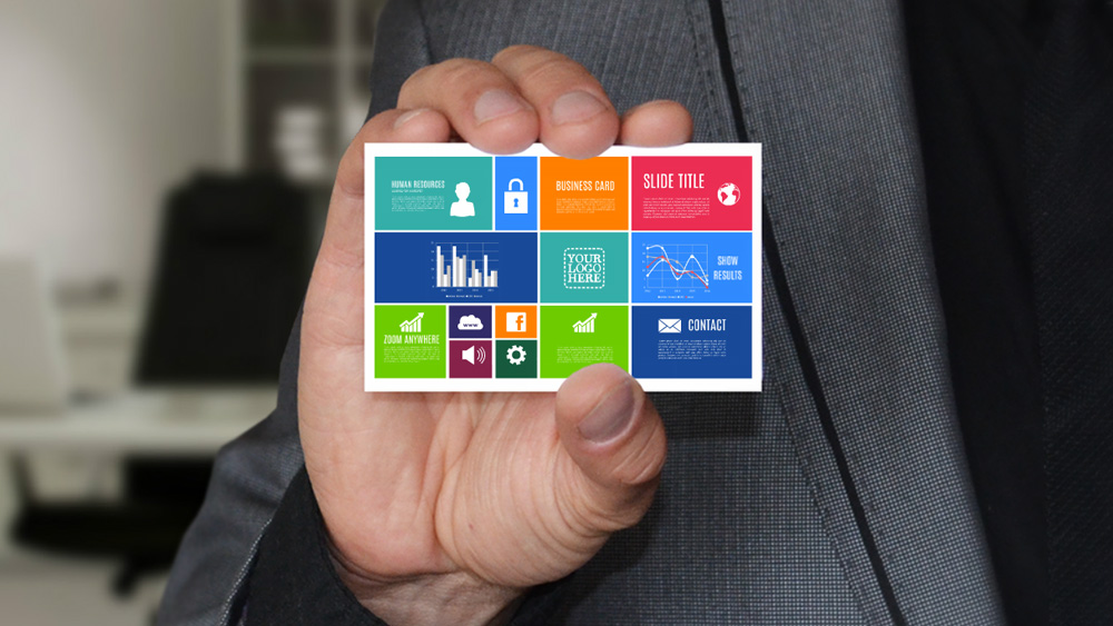 Businessman with business card creative company introduction prezi template
