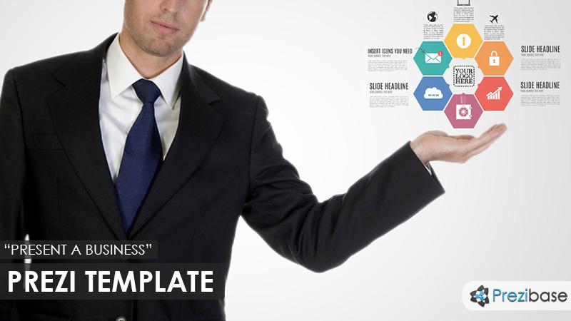 busienssman presenting company hexagon prezi template