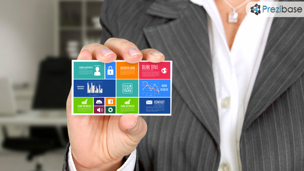 Business card businesswoman creative company prezi template for presentations