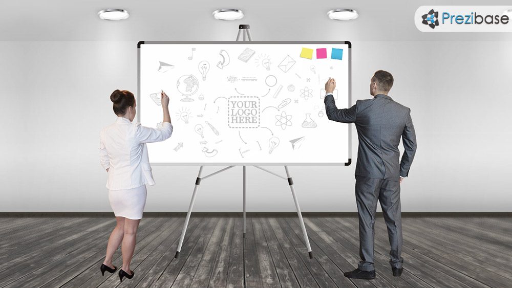 Businesswoman and man whiteboard sketch ideas creative business prezi template