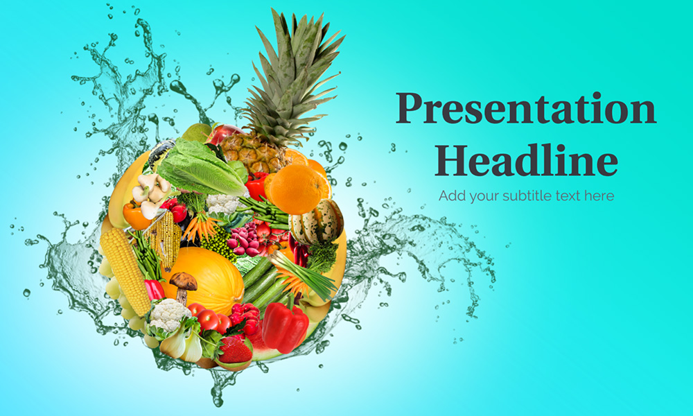 Creative fruit sphere vegetable bomb health and diet presentation prezi template