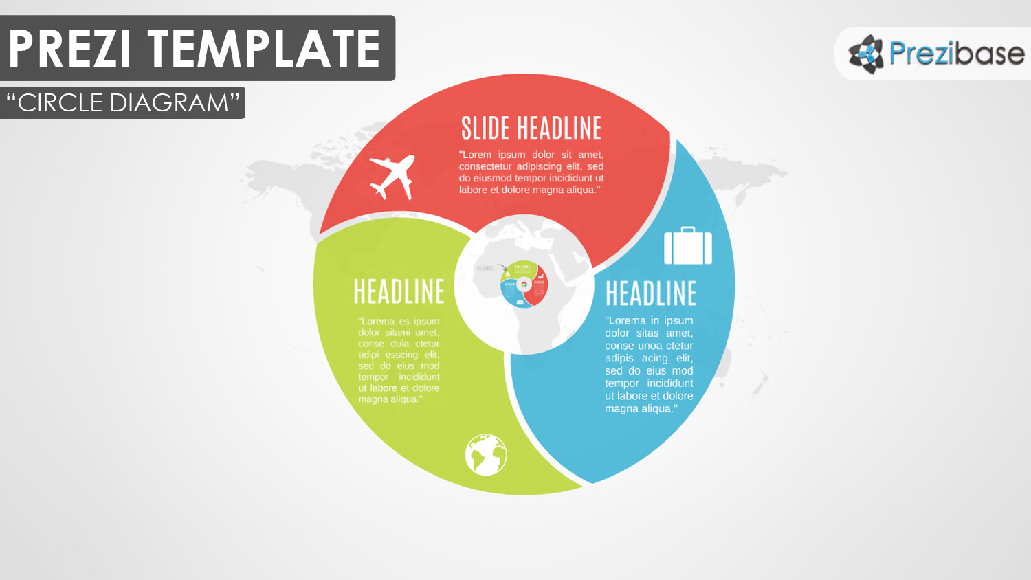 Infographic diagram prezi templates prezibase 3d circle zooming diagram red blue green prezi template map ccuart Images