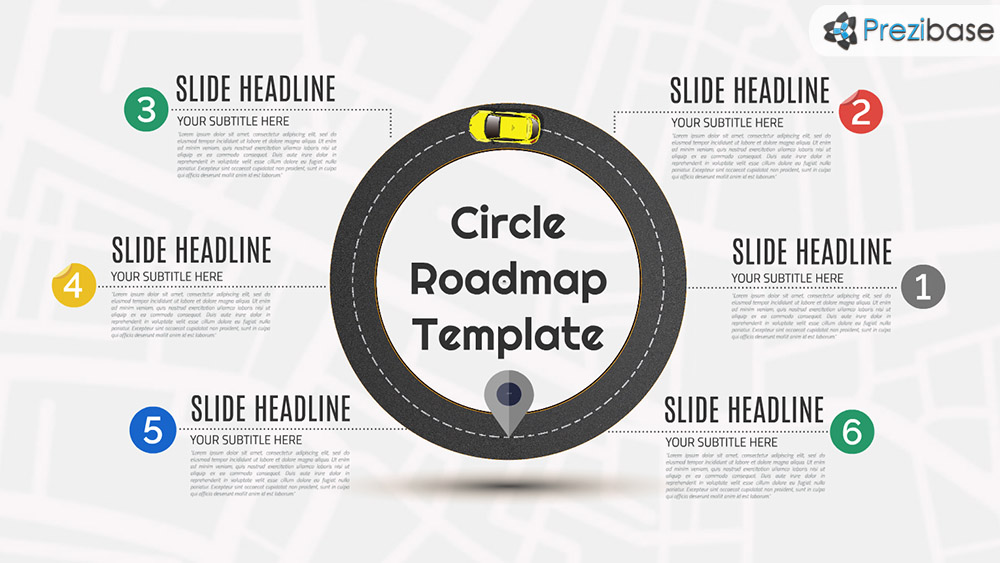 Delightful Circle Roadmap Round Infographic Business Roadmap Prezi Template