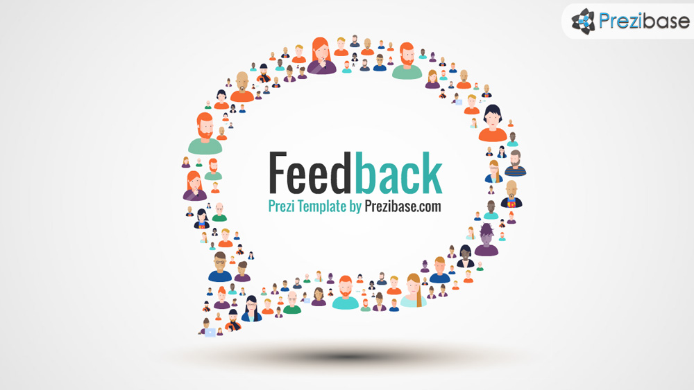 Client and customer feedback people forming speech bubble prezi presentation template