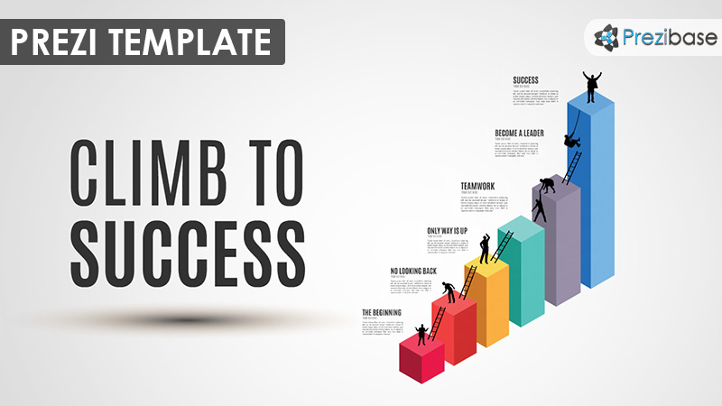 3D business graph silhouettes success prezi template